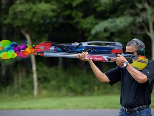 Obama trapshooting at Camp Davi 2
