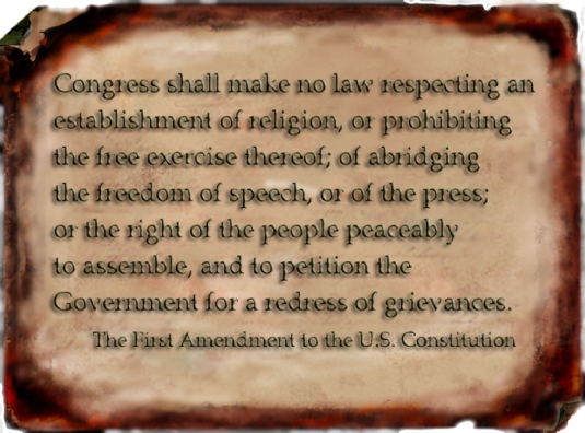 First Amendment on parchment