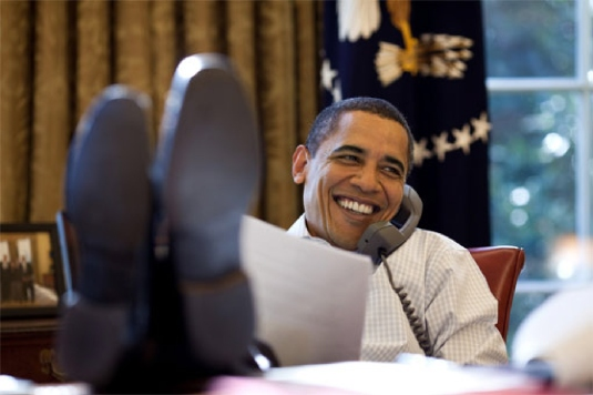Barack Obama on the phone