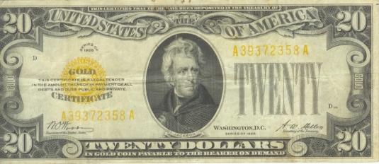 $20 gold certificate 1