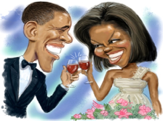 Barack and Michelle caricatures