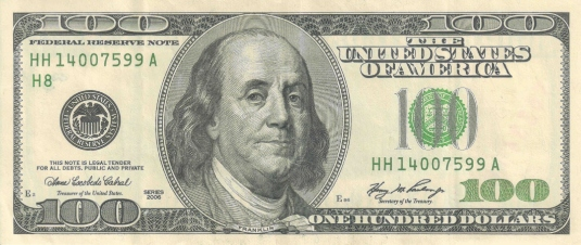 Benjamin Franklin $100 bill  1