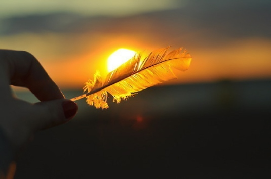 holding a feather 1