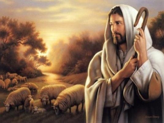 Jesus tending his flock 1a