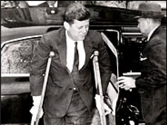 Kennedy on crutches 2a