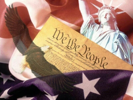 Constitution flag and liberty