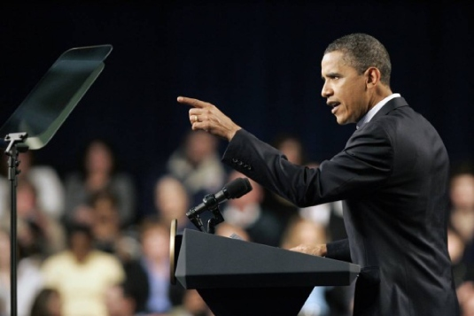 Obama and Teleprompter 2