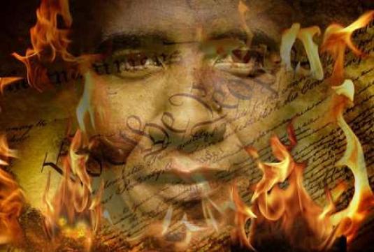 Obama - burning Constitution