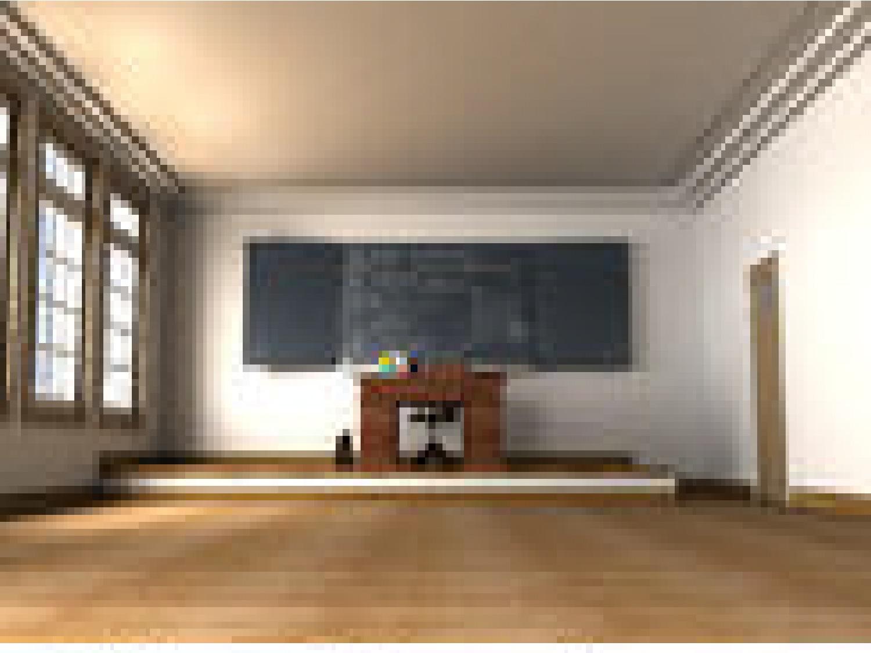 Empty cartoon classroom background - Empty Classroom Desk E