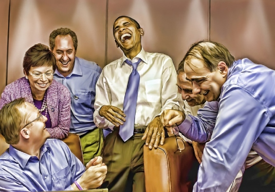 Obama and team laughing 1