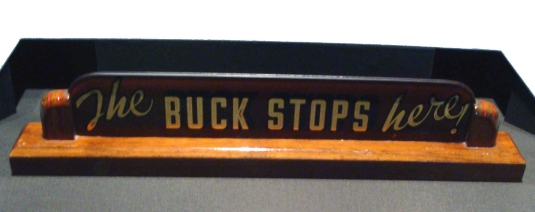 the buck stops here - plaque 1