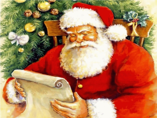 Santa Claus reading his list 1a