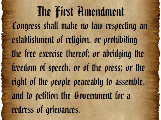 the First Amendment - parchment
