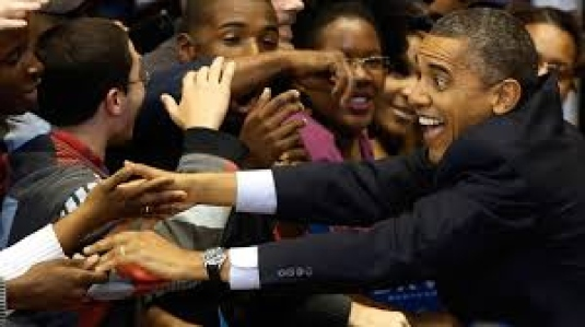 Obama campaigning - personified