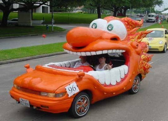 crazy orange car