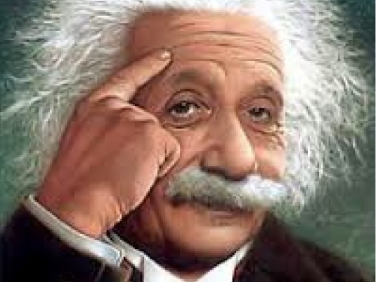 Albert Einstein finger to head