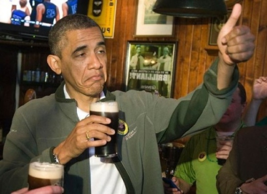 drunk Obama thumbs up