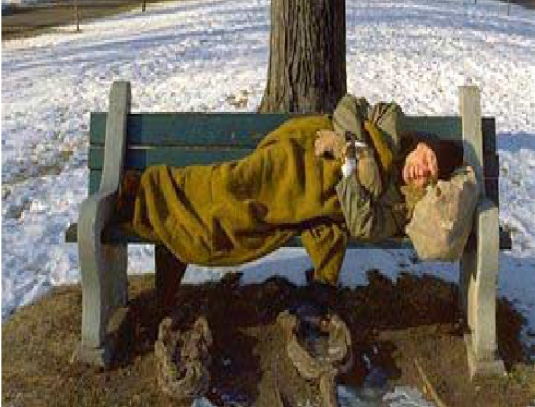 homeless man - and bench 1a