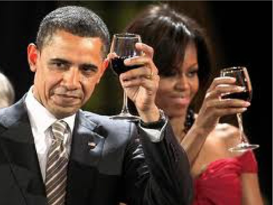 Barack and Michelle partying