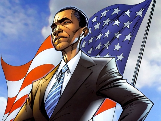 caricature - Obama flag 1a