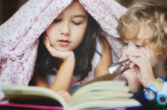reading scary book